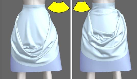 ドレープの風合いは固定する位置と、パニエのボリューム、スカートの広がりによって左右されます