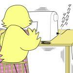【おさいほう漫画】洋裁道具が落ちて危ない!不便!!ミシン周りの道具の固定