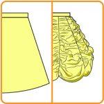【おさいほう】スカートの型紙を縦方向に縮めてドレープスカートにする方法
