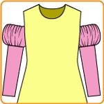 パフスリーブ付きの付け袖の縫い方。