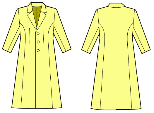 男装用テーラードカラーのコートの縫い方