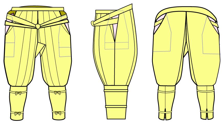 袴(はかま)もどき用ポケットの作り方