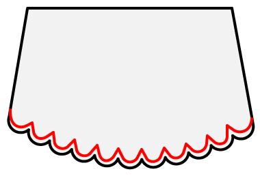 スカラップの縁取りの縫い方1