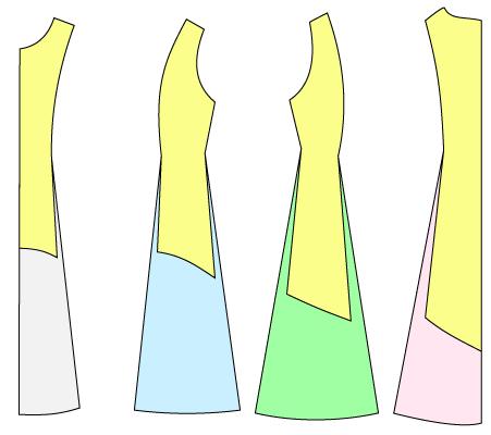 ワンピースの型紙の前後の丈を変える方法
