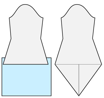 普通の袖の型紙をとがった形にする方法